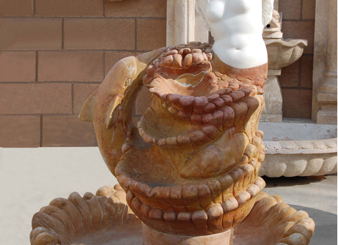F1902- White & Red/Brown Marble Fountain