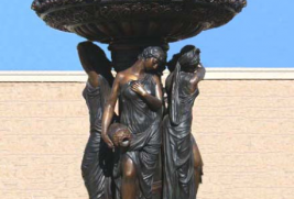 F55160- Bronze Fountain – 4 Season Ladies w/Lion Faces @ Top