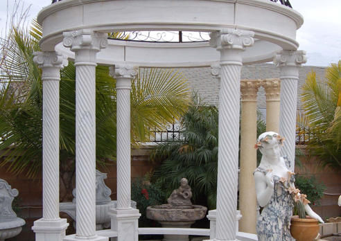 G04155 Gazebo – White Marble w/Wrought Iron Top