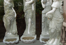 HX1952- White & Green Marble Fountain