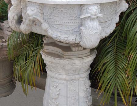 PL792-1 White Marble Urn & Pedestal