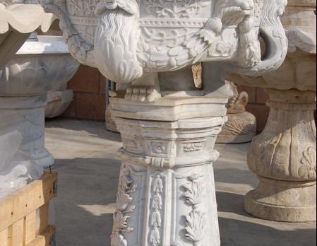 PL792-2 White Marble Urn &Pedestal