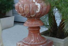 Urn & Pedestal – Red Variegated Marble