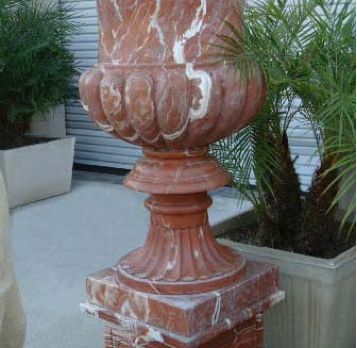 Urn & Pedestal – Red Variegated Marble