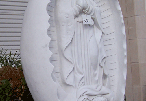 S001– Guadalupe Statue -White Marble w/Grey Base