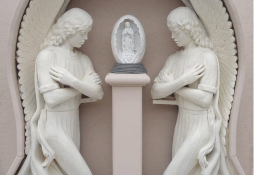 S003– Kneeling Angels w/Pedestal & Guadalupe Statue