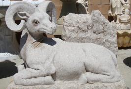 S004 -Beige Granite Ram Statue