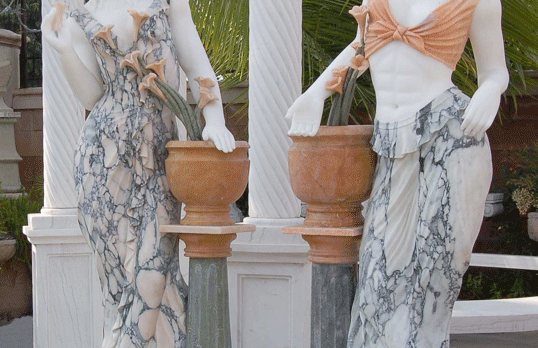 S09547-1,2 White Statue w/Peach & Green Variegated Dress