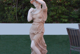 S7209 – White Statue w/Lights/Travertine Dress & Base