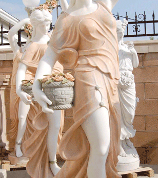 S833-White Marble Statue w/Orange Dress