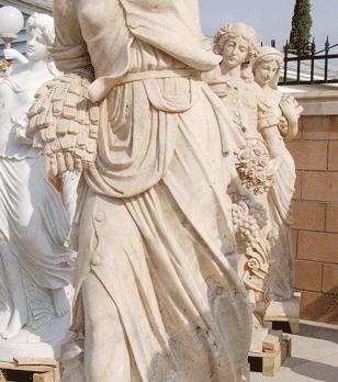 S885- Travertine statue (Set of 4)